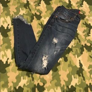 Pants - Dark blue faded and torn jeans-size 7 (EUC)